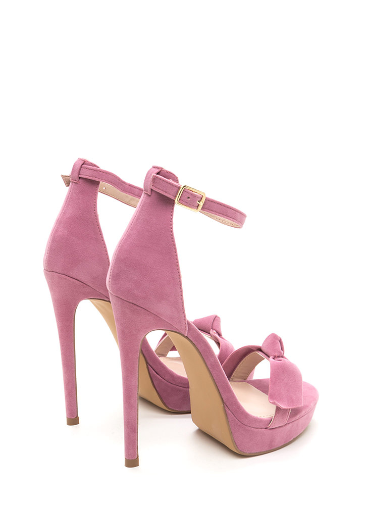Bow Really Strappy Faux Suede Heels MAUVE
