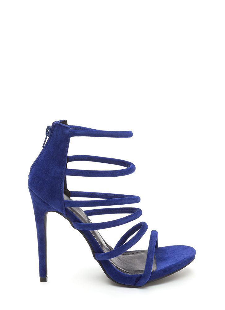 Six Tape Strappy Caged Faux Suede Heels BLUE