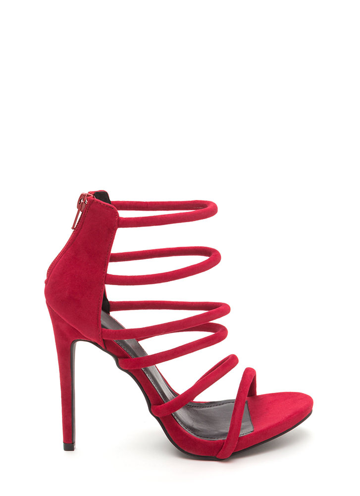 Six Tape Strappy Caged Faux Suede Heels RED