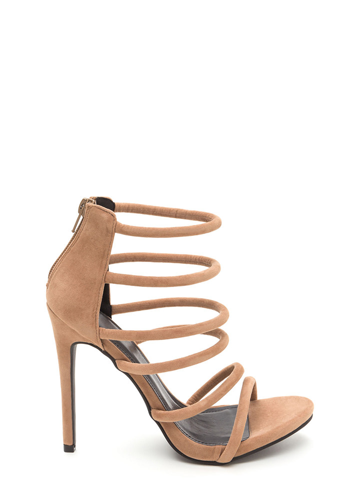 Six Tape Strappy Caged Faux Suede Heels TAUPE