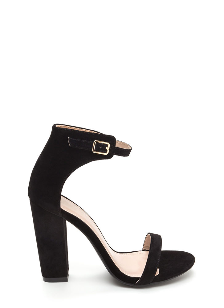 Trendsetter Chunky Faux Suede Heels BLACK