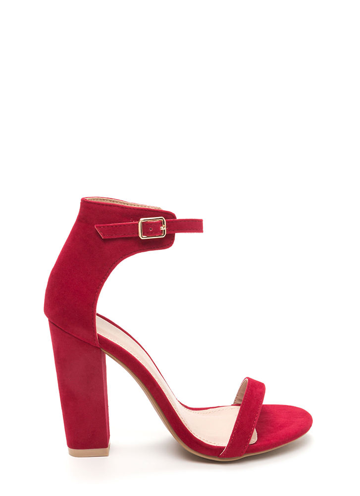Trendsetter Chunky Faux Suede Heels RED