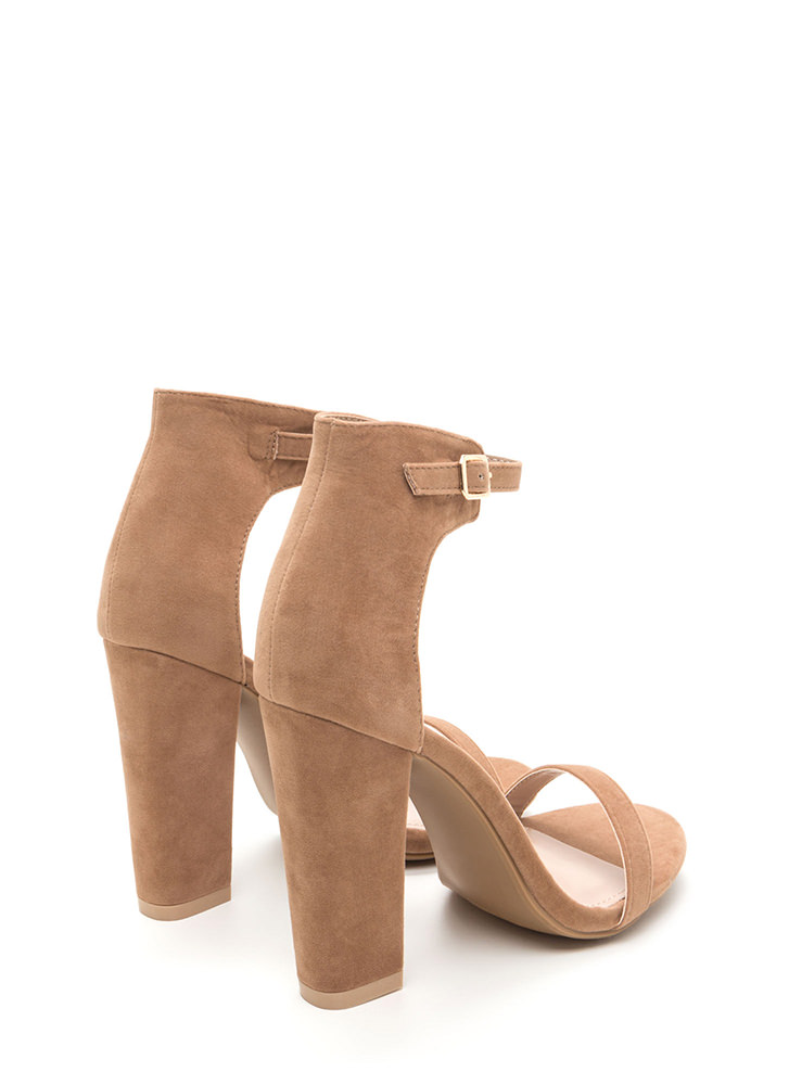 Trendsetter Chunky Faux Suede Heels TAUPE