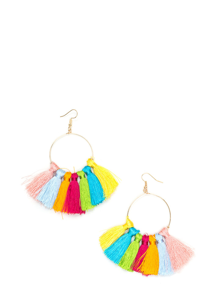 Tassel Rainbow Hoop Earrings MULTIGOLD