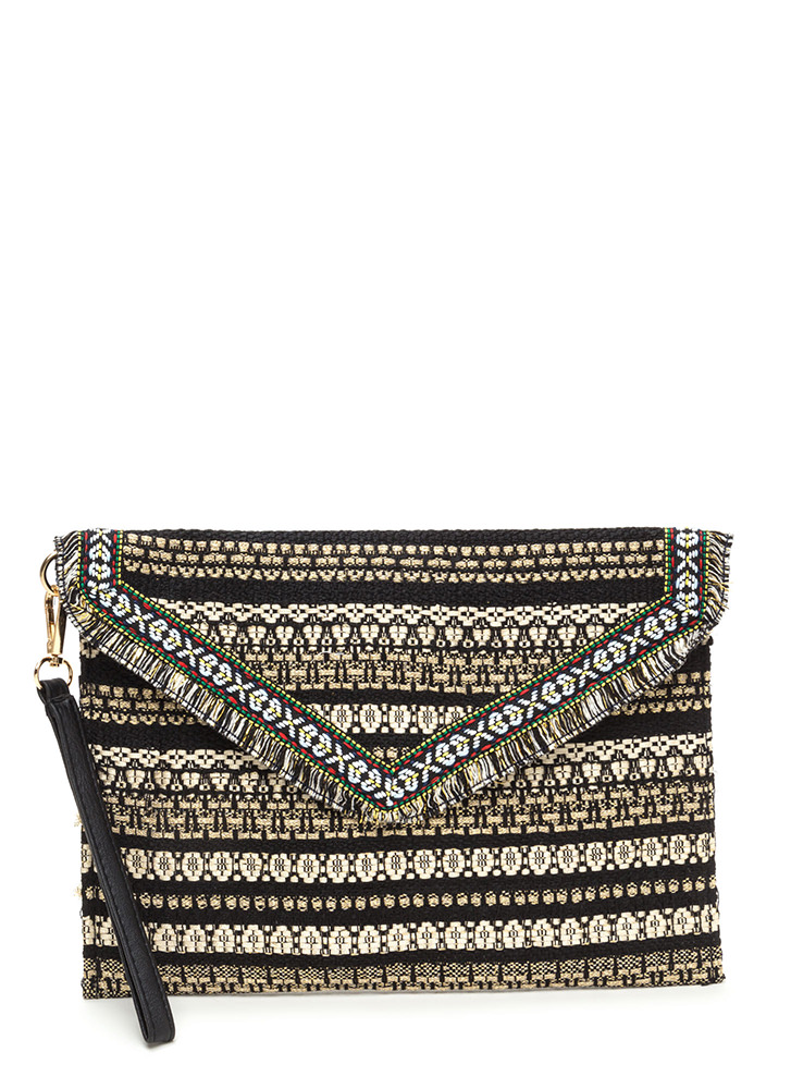 Boho Vacay Flat Embroidered Clutch BLACK
