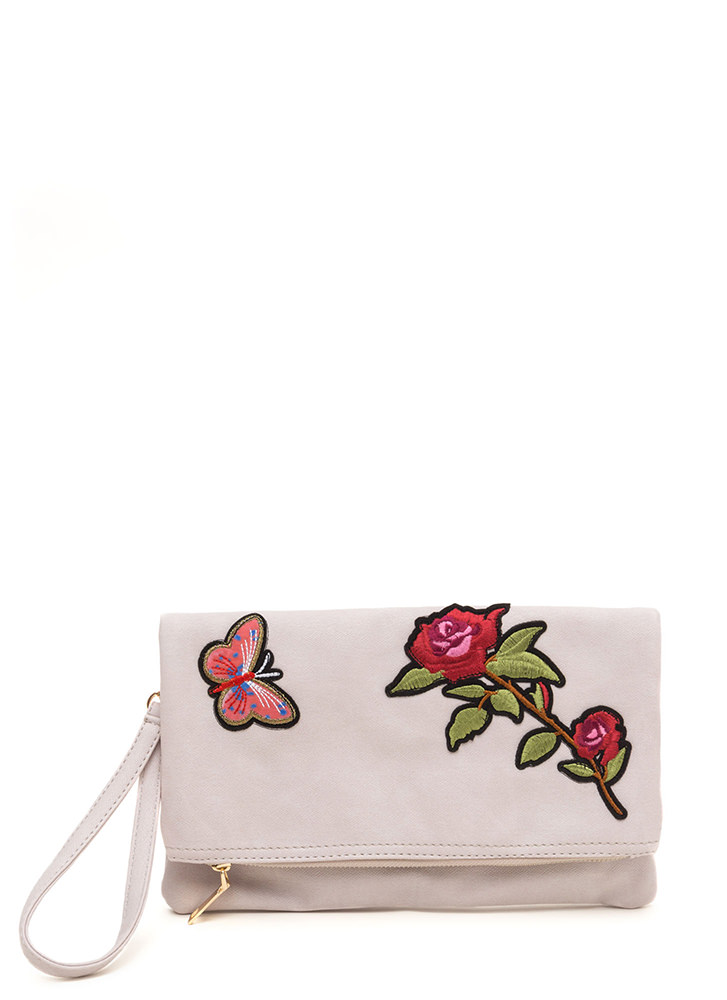 Botanical Gardens Foldover Patch Bag BLUSH