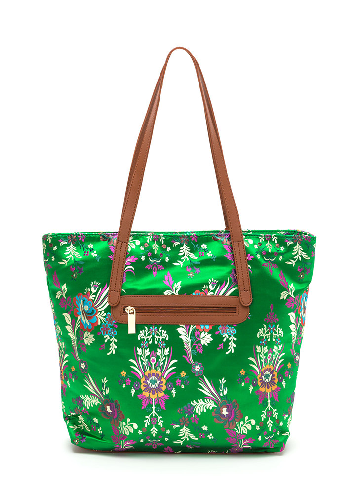 Grow Your Own Way Quilted Satin Tote GREEN