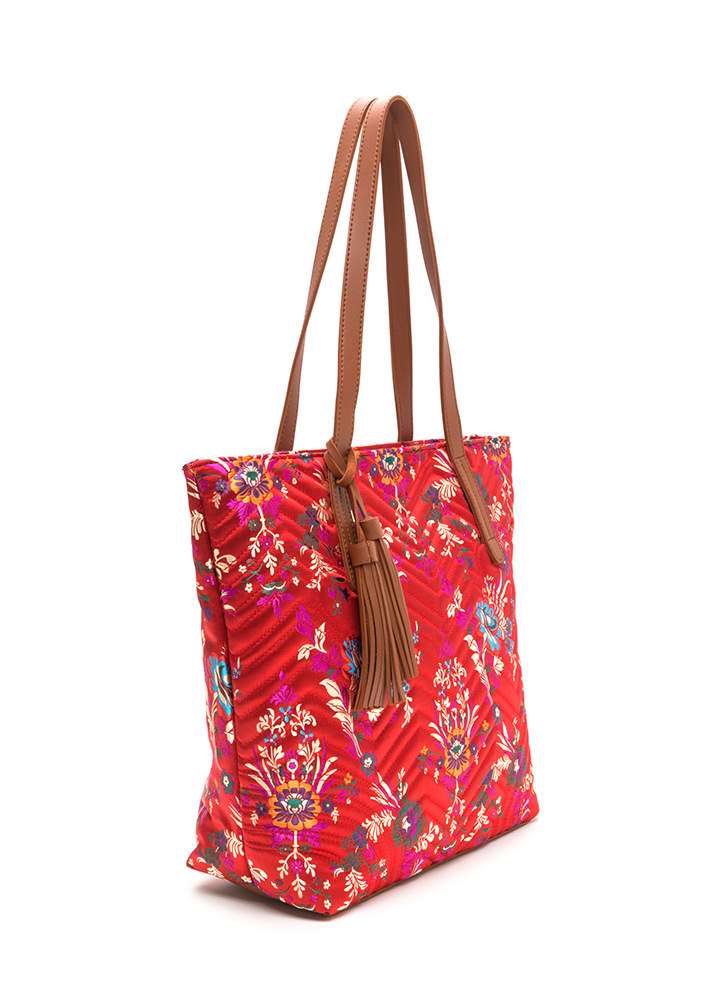 Grow Your Own Way Quilted Satin Tote RED