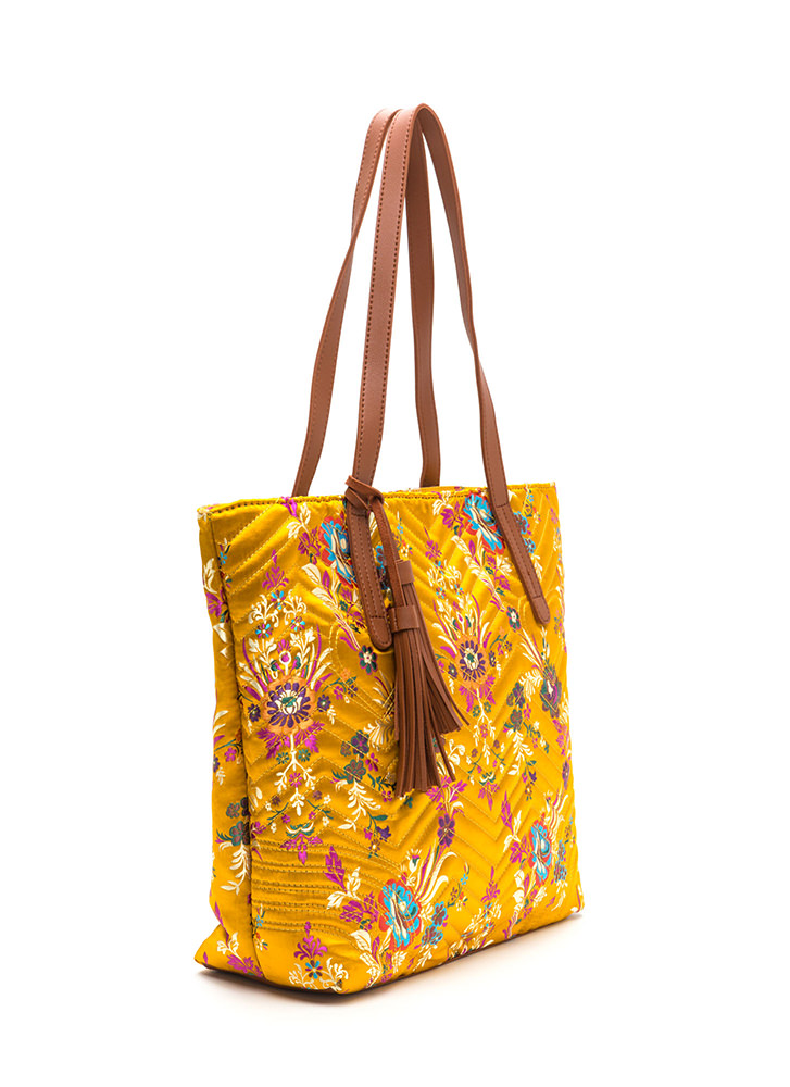 Grow Your Own Way Quilted Satin Tote YELLOW