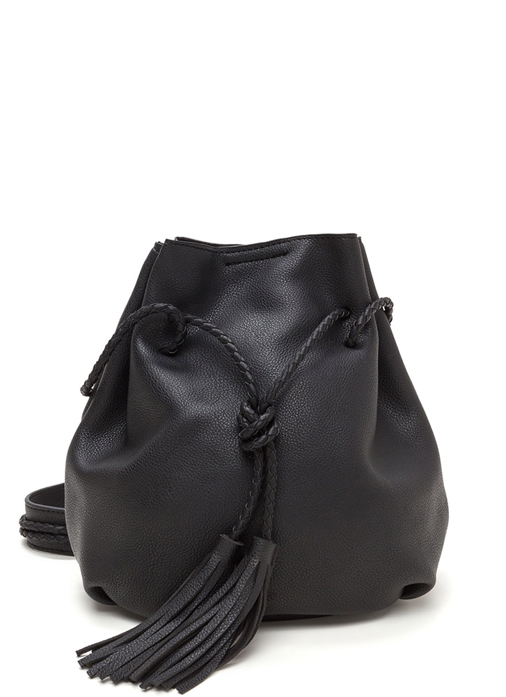 Tasseled Take Faux Leather Bucket Bag BLACK