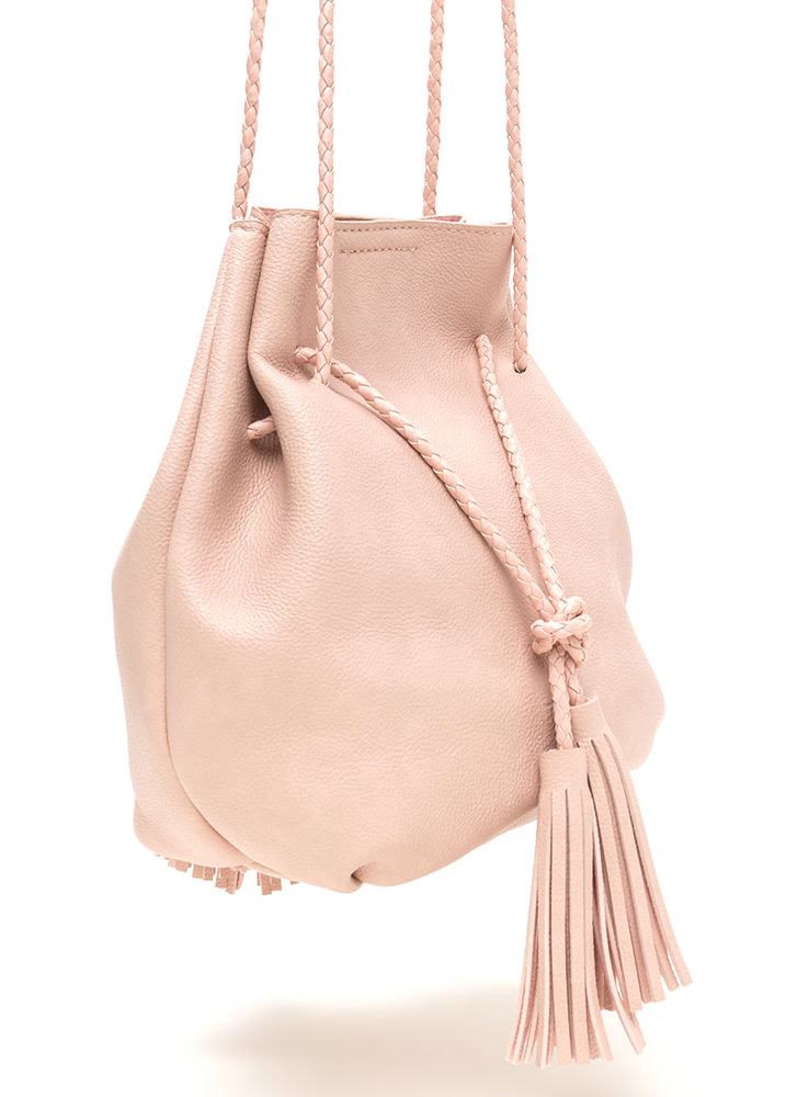 Tasseled Take Faux Leather Bucket Bag BLUSH