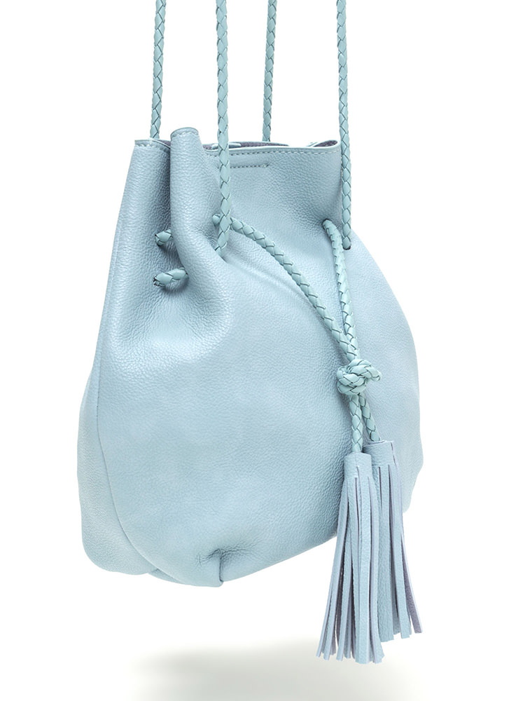 Tasseled Take Faux Leather Bucket Bag LTBLUE
