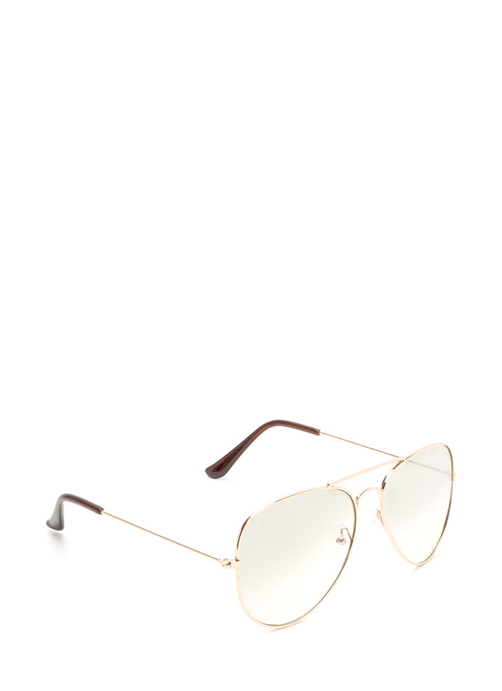 Going Going Gone Aviator Sunglasses GOLDBROWN