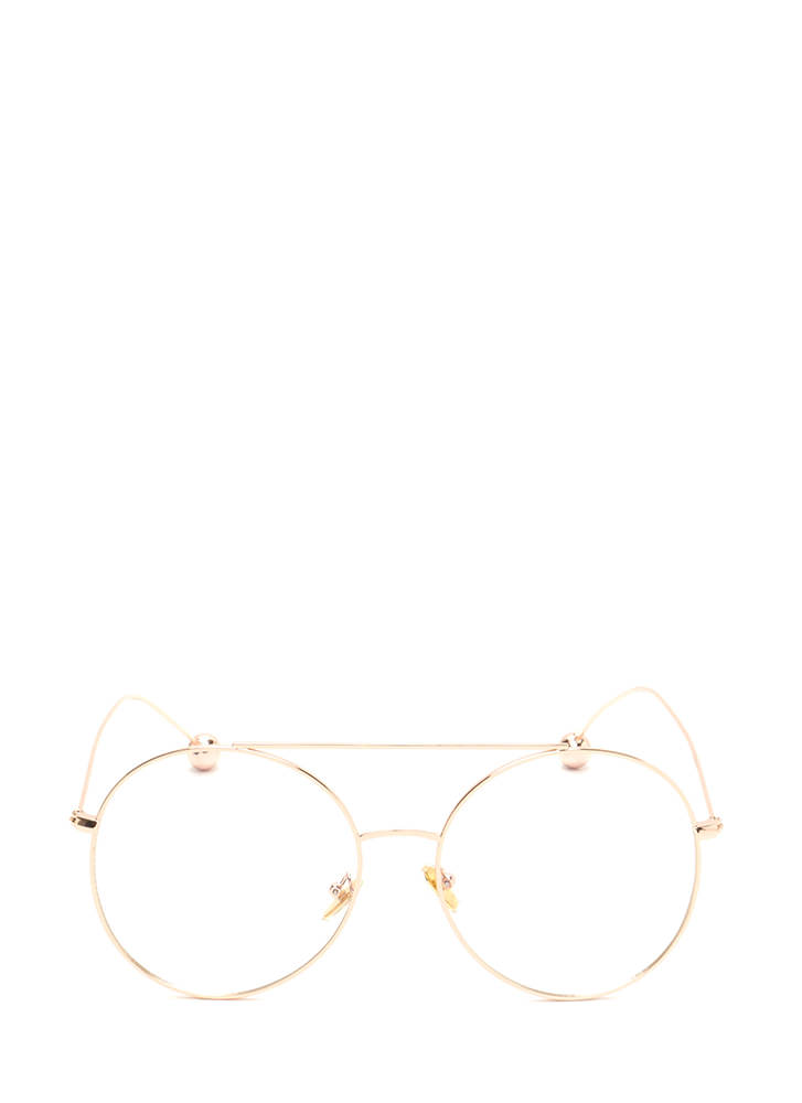 Steer Clear Ball End Aviator Glasses ROSEGOLD