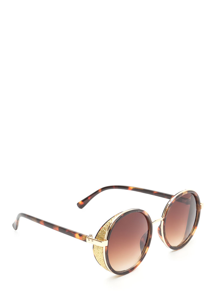 Shield With A Kiss Glittery Sunglasses TORTOISE