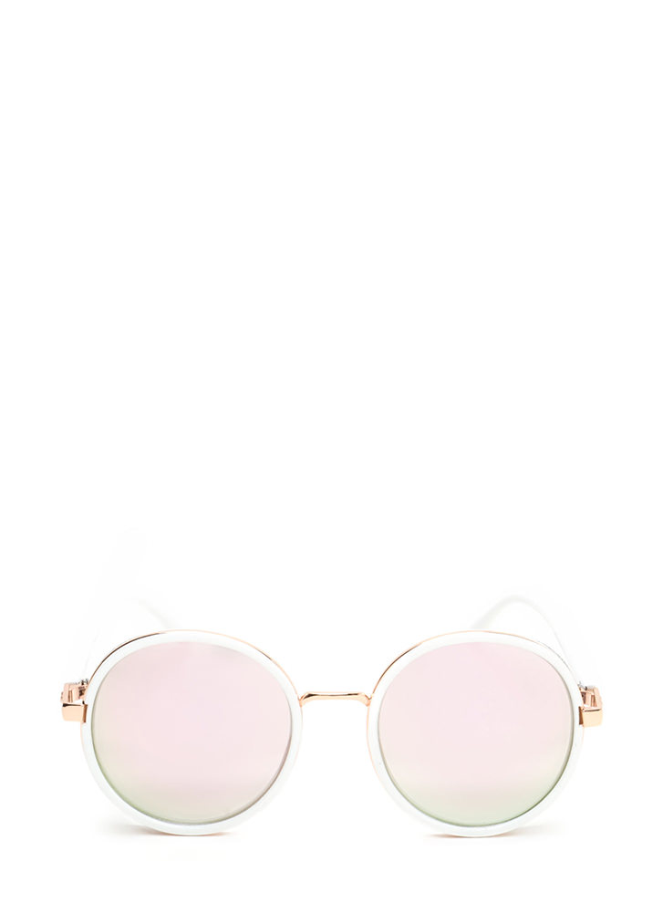 Shield With A Kiss Glittery Sunglasses WHITE