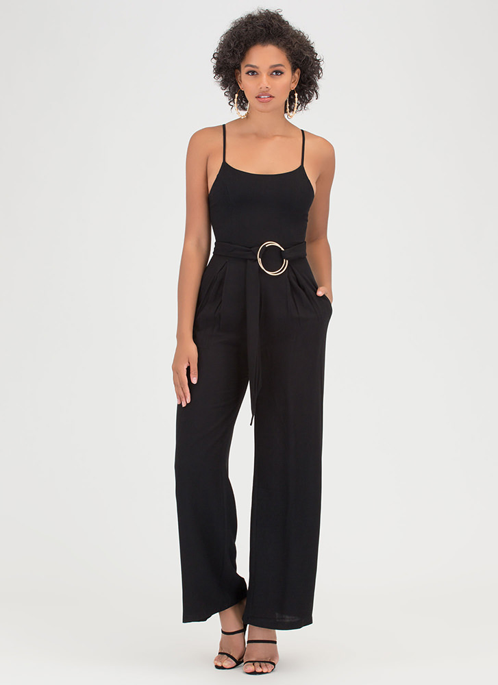 Do Your Thing Pleated Palazzo Jumpsuit BLACK