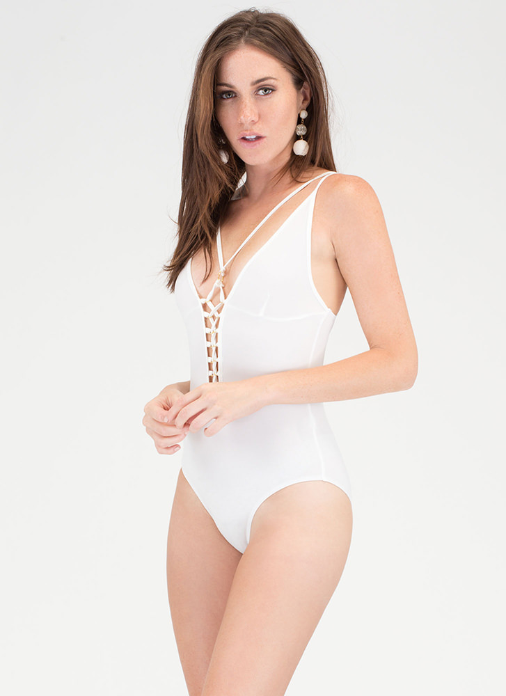 Rollin' In The Deep Lace-Up Bodysuit WHITE