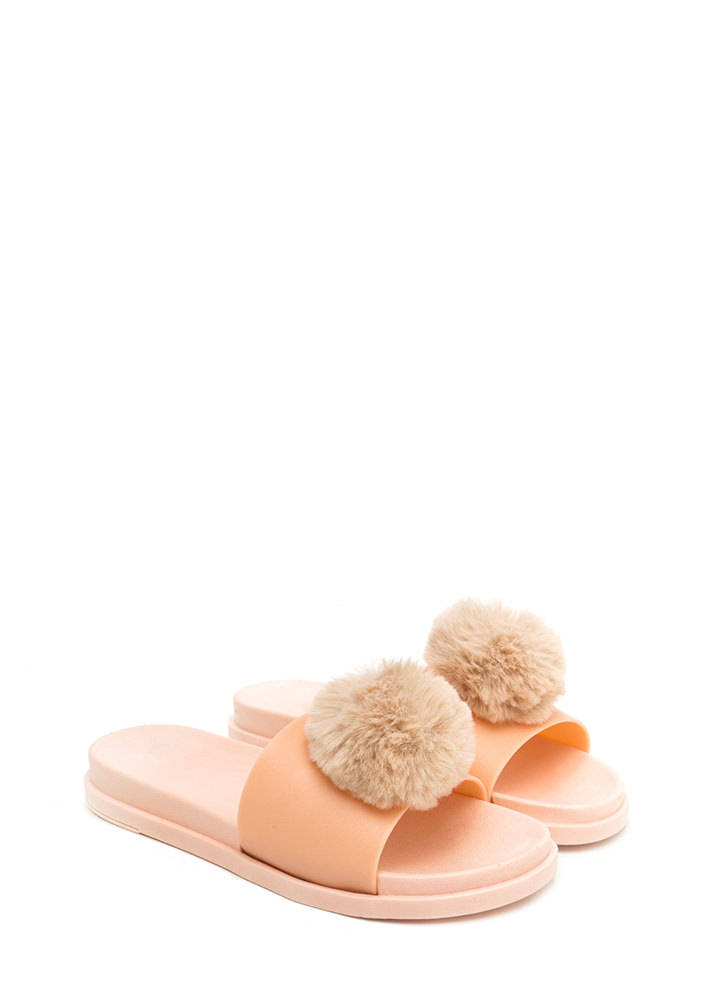 Fur The Better Jelly Slide Sandals NUDE