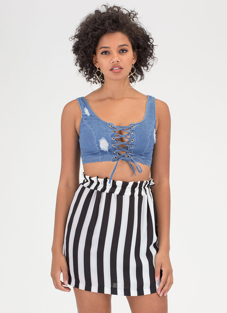 Denim All Day Lace-Up Crop Tank Top BLUE