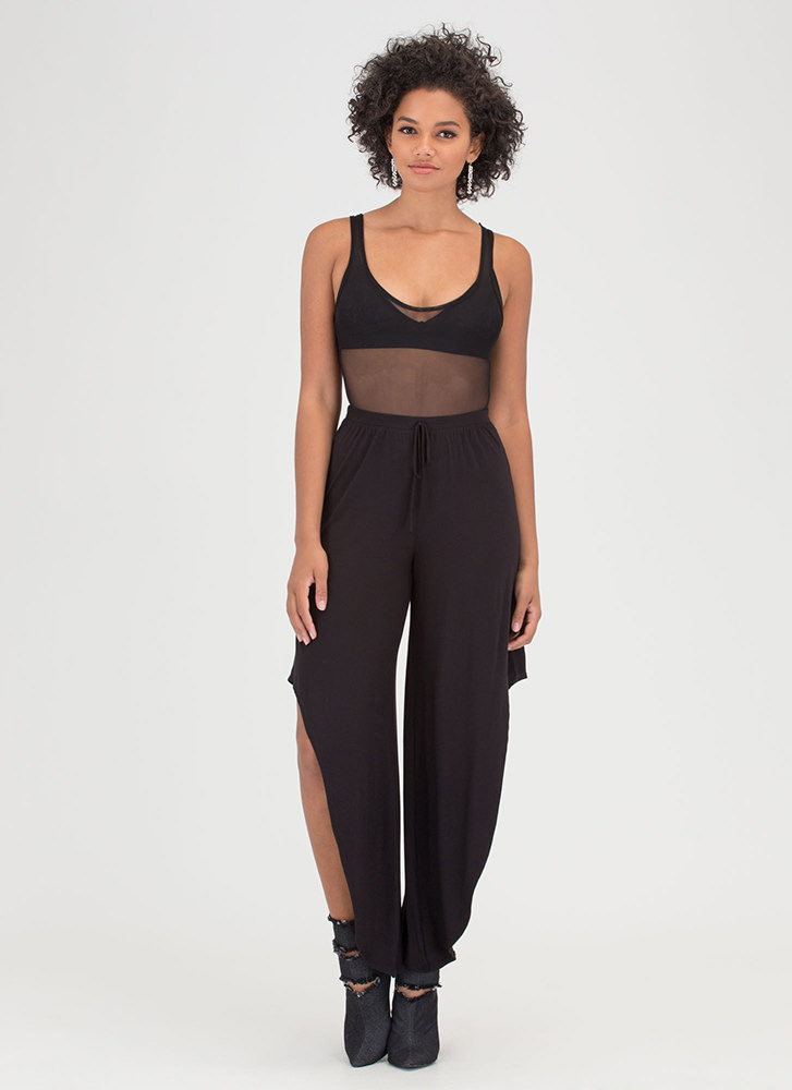 Fancy Flow Cut-Out High-Low Pants BLACK