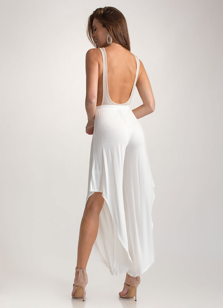 Fancy Flow Cut-Out High-Low Pants WHITE