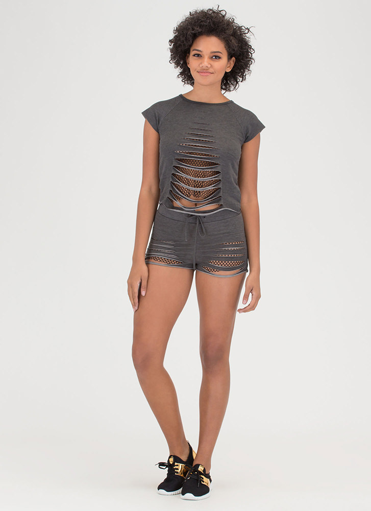 Great Catch Slashed Top 'N Shorts Set BLACK