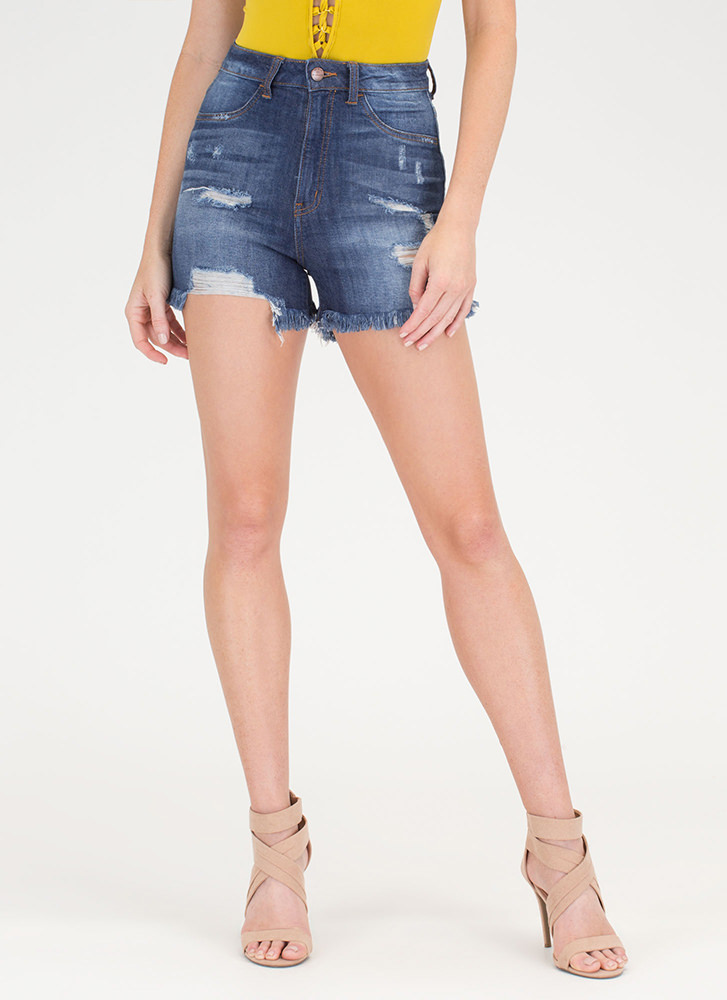 Jean Therapy Frayed High-Waisted Shorts