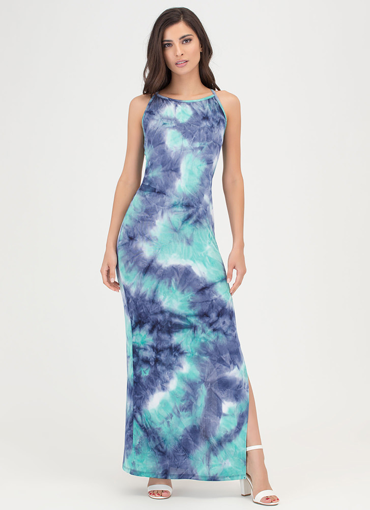 Ends In A Tie-Dye Slit Maxi Dress TEAL