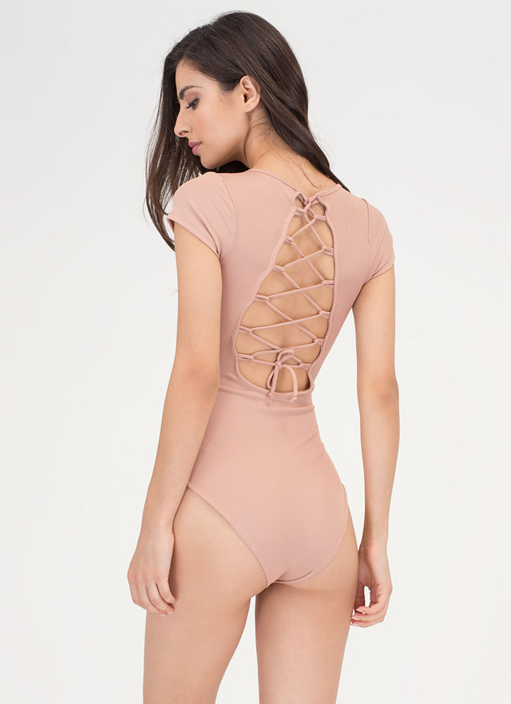 Tied For First Rib Knit Bodysuit NUDE