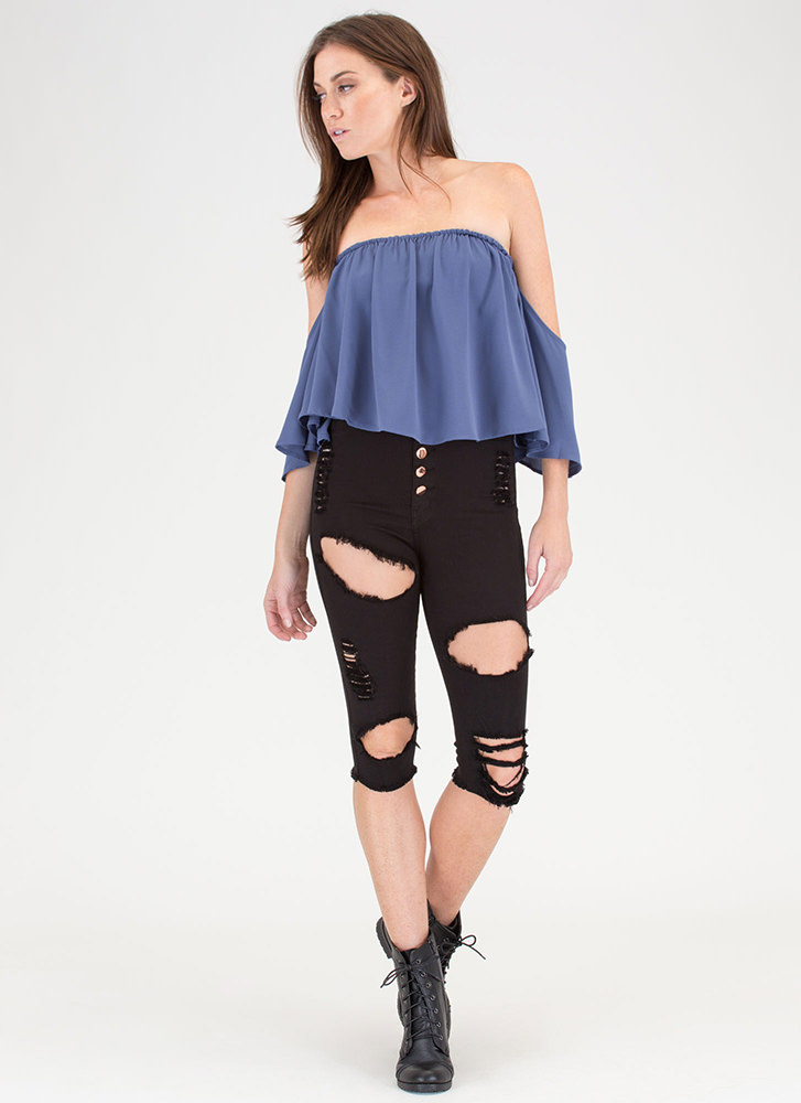 It's A Breeze Off-Shoulder Crop Top DUSTYBLUE