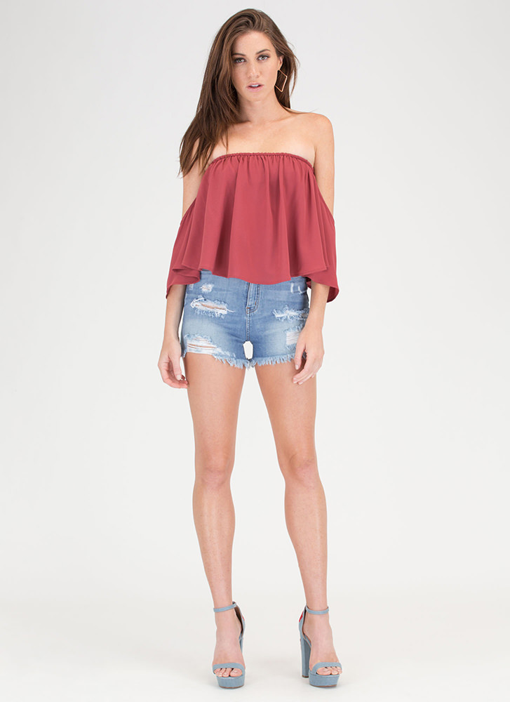 It's A Breeze Off-Shoulder Crop Top MARSALA