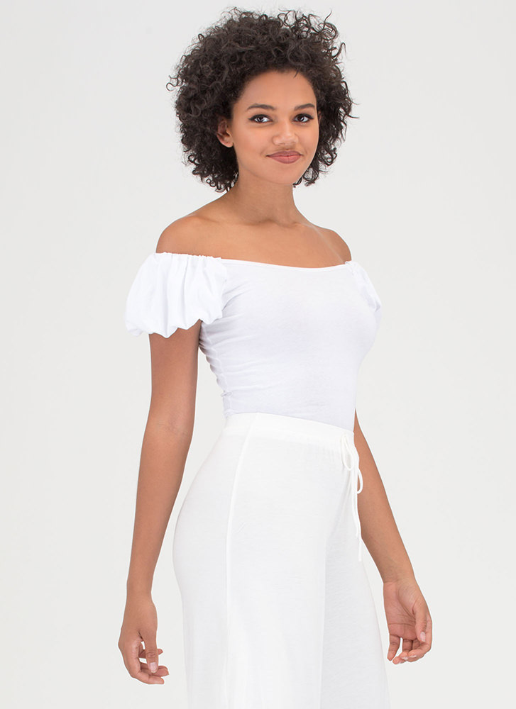 Lunch Date Statement Off-Shoulder Top WHITE