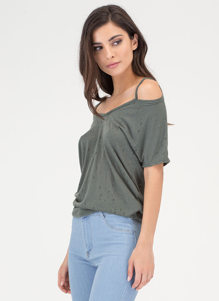 Killin' It Distressed Strappy V-Neck Tee OLIVE