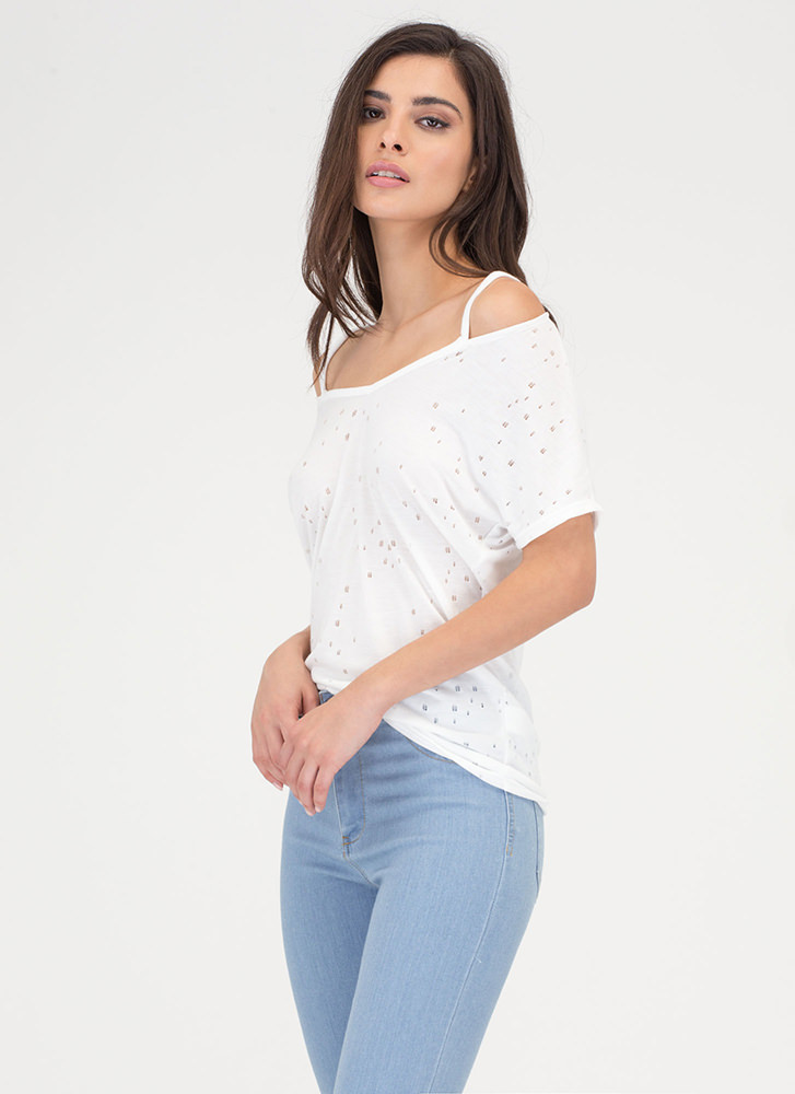 Killin' It Distressed Strappy V-Neck Tee WHITE