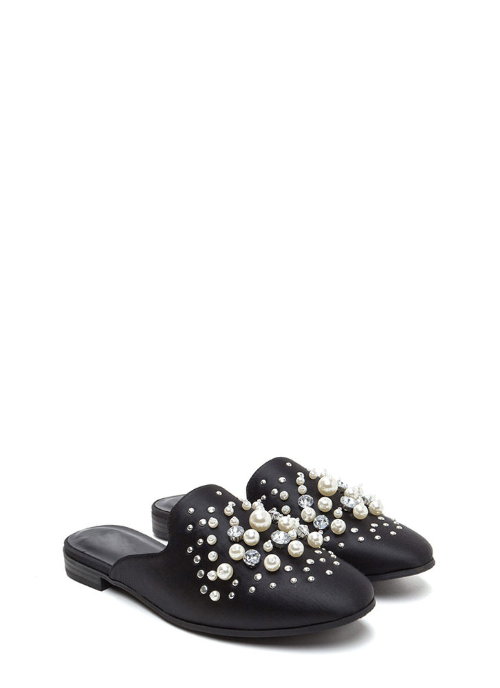 Lap Of Luxury Jeweled Satin Mule Flats BLACK