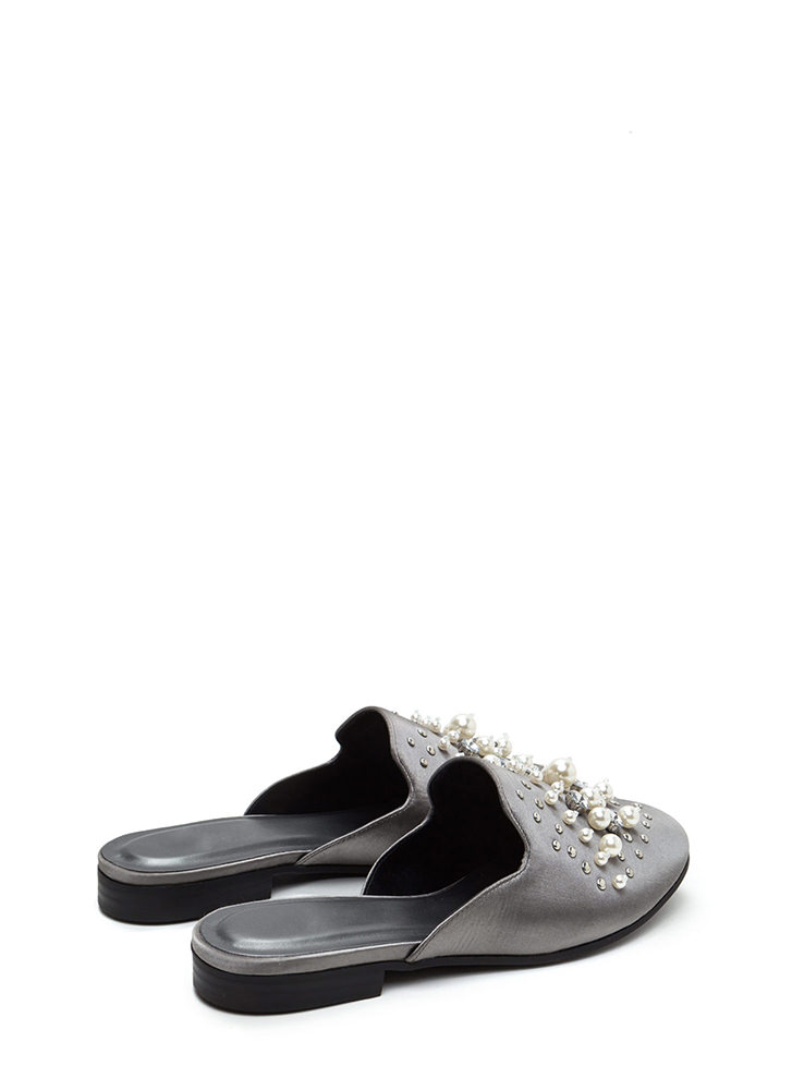 Lap Of Luxury Jeweled Satin Mule Flats GUNMETAL