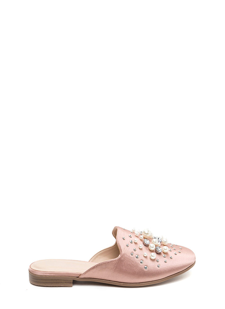 Lap Of Luxury Jeweled Satin Mule Flats MAUVE