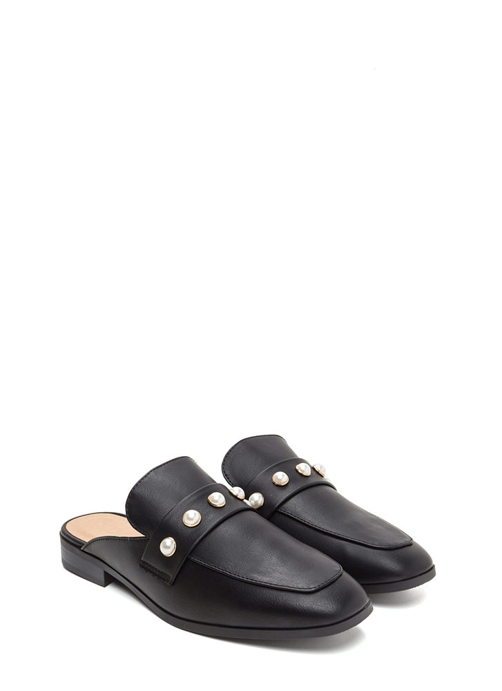 Precious Pearls Faux Leather Mule Flats BLACK