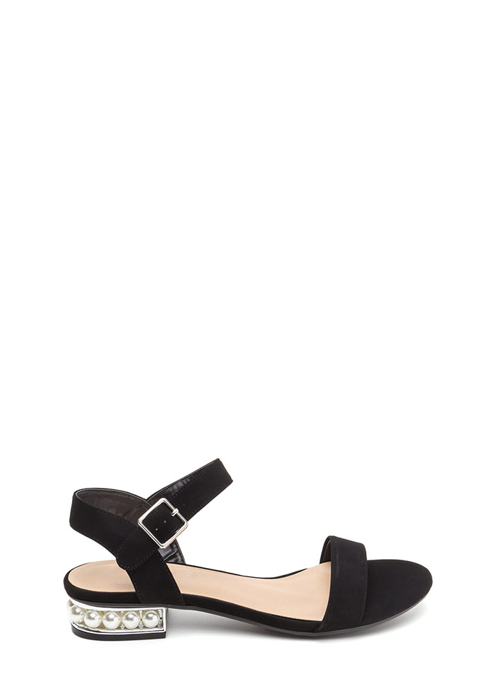 Pearl Dive Strappy Faux Nubuck Sandals BLACK