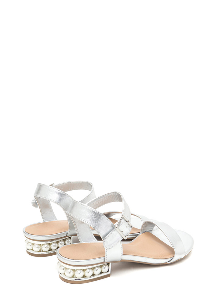 Pearl Dive Strappy Metallic Sandals SILVER