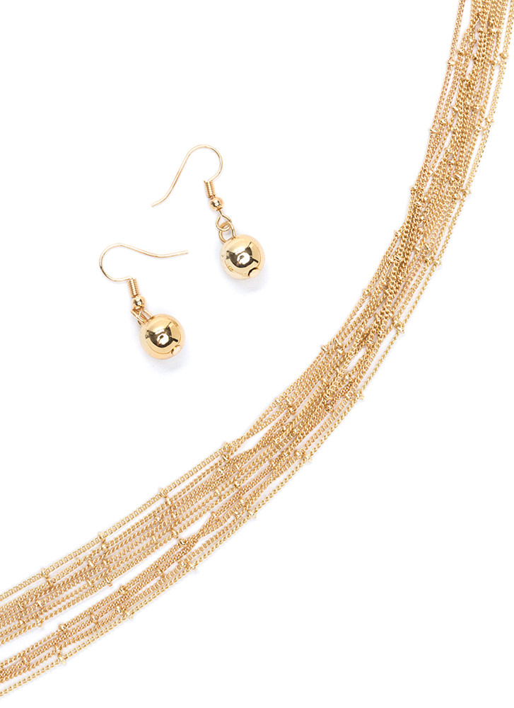 Bead Them To It Long Necklace Set GOLD