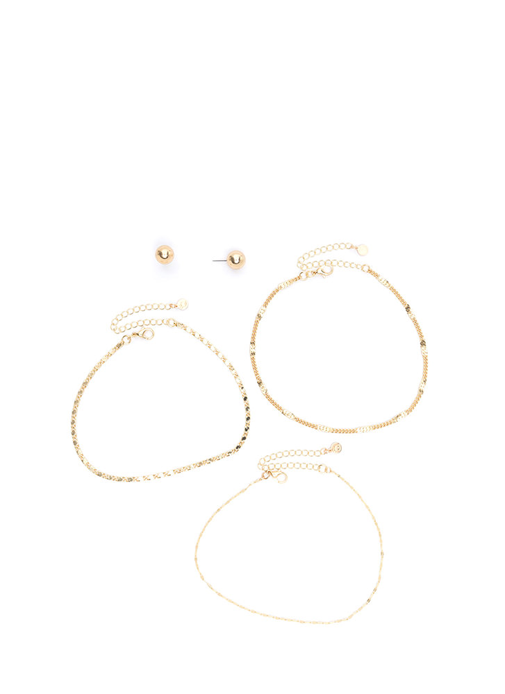 Triple Crown Chain Choker Set GOLD