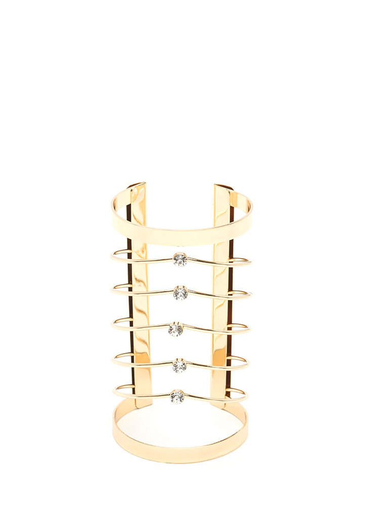 Glam Bae Jeweled Caged Cuff GOLD