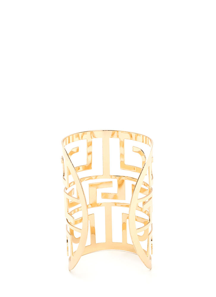 Greek Goddess Caged Cut-Out Cuff GOLD