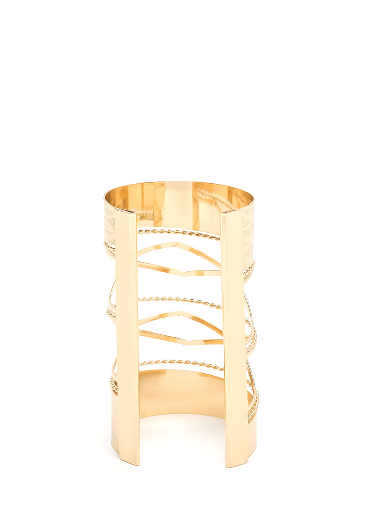 High Powered Glam Textured Caged Cuff GOLD