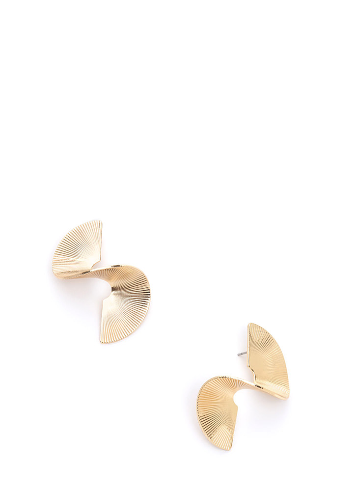 Spiral Out Of Control Ridged Earrings GOLD