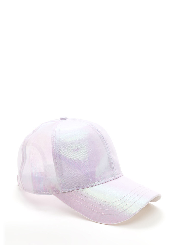 Rise And Shine Holographic Baseball Hat LTPINK
