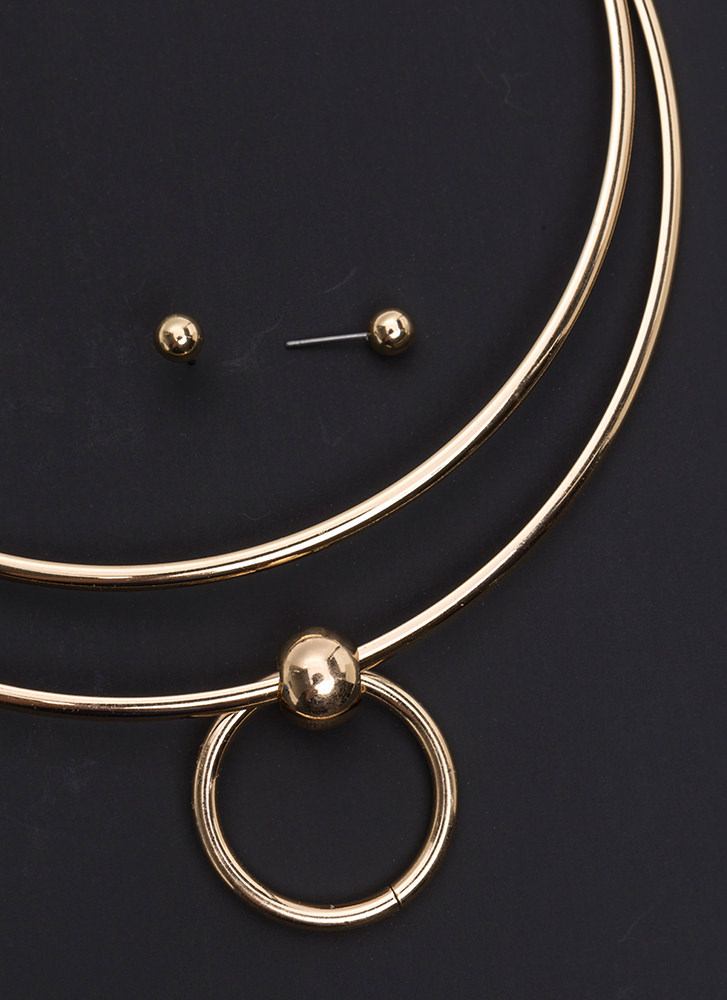Circle Of Trust Collar Necklace Set GOLD