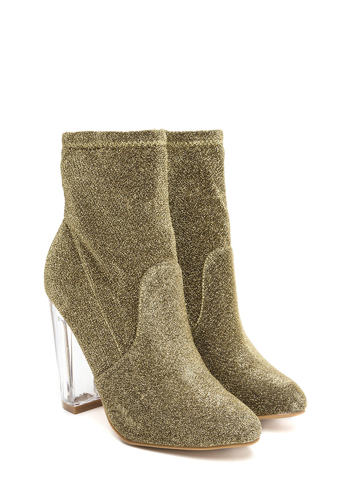 Time To Shine Clear Chunky Booties GOLD